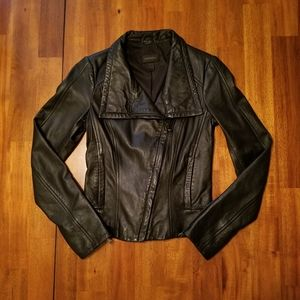 Asymmetrical Zip Front Leather Jacket